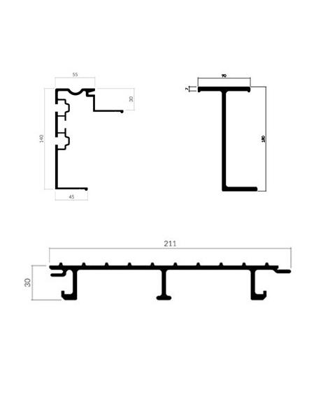 Perfiles de aluminio para suelo de aluminio